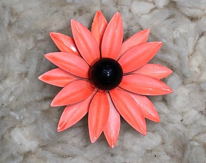 Orange Flower Brooch, Mid Century Floral Pin, Metal Mod Costume Jewelry