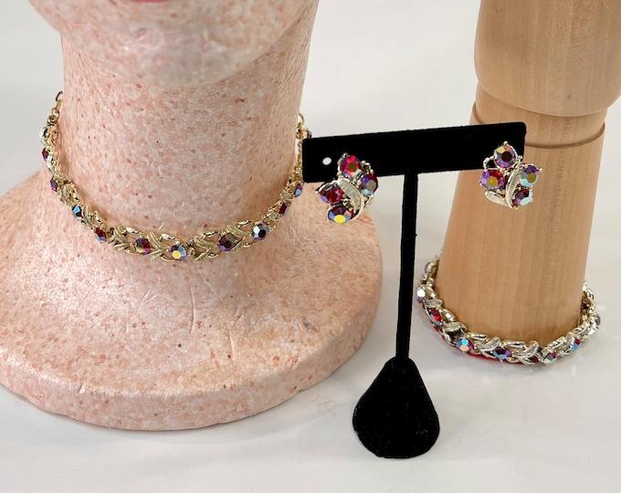 Red Rhinestone Jewelry Set, Mid Century Formal Costume Jewelry, Christmas Holiday Party Jewelry