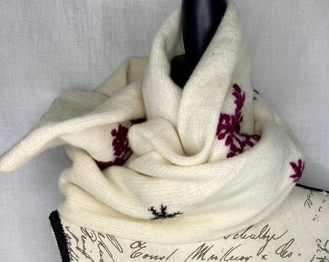Lambswool Scarf, unisex winter neckwear, snowflake wrap