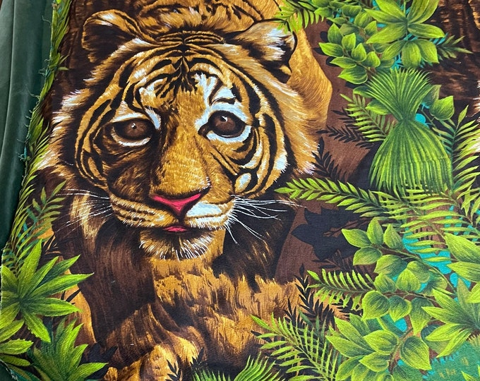 Tiger Print Fabric Panel, Wesco Reltex Vintage Material, Wall Hanging