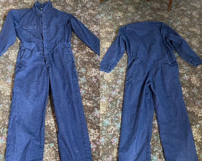 Denim Jumpsuit, Retro Work Coveralls, Zip Up Blue Jean Unisex Overalls