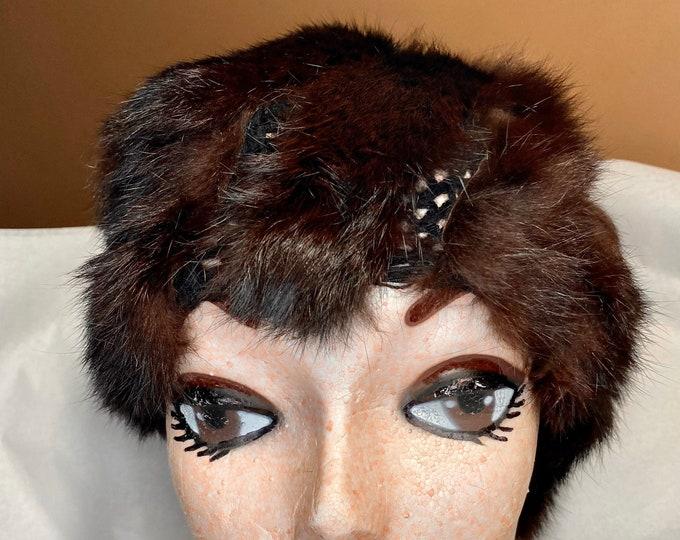 Fur Fashion Hat, Women's crocheted fur beanie cap, mid century style
