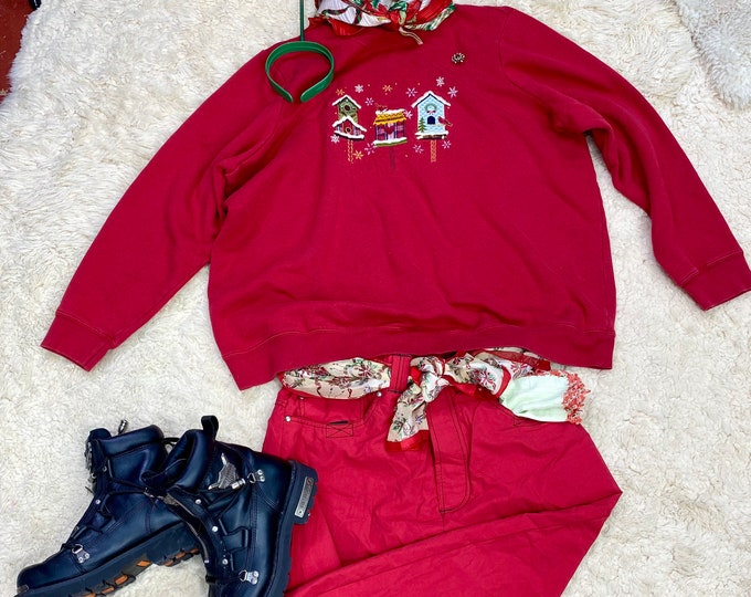 Red Christmas Sweatshirt, Holiday Unisex Ugly Sweater Party