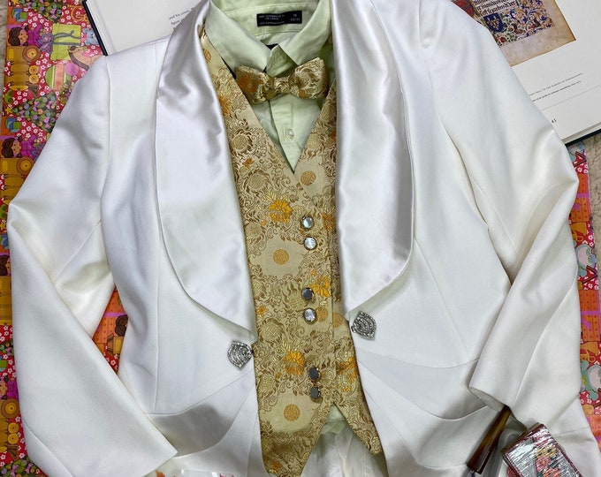 Formal Vest and Bow Tie, Men's Yellow Gold New Year's Attire