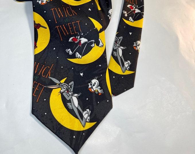 Halloween Necktie, Vintage Looney Tunes Tie, Tasmanian Devil Necktie
