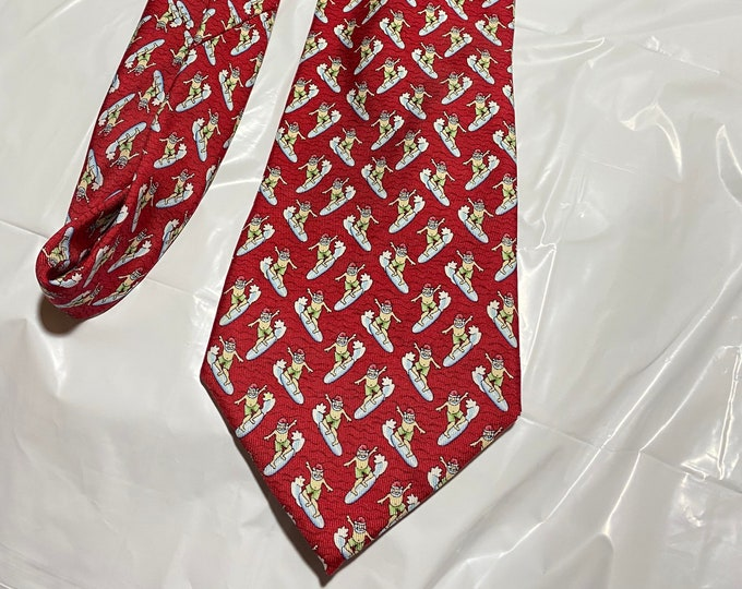Surfing Santa Necktie, Christmas Party Necktie, holiday fun sporty neckwear