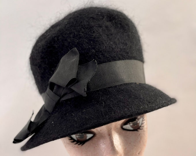 Black Women's Formal Hat, Wool Fashion Hat, Shagfelt Mourning Hat