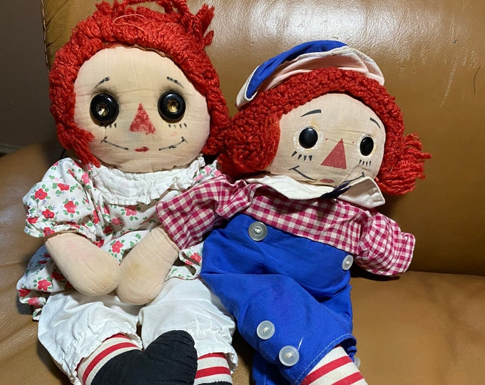 Raggedy Ann and Andy Doll set, vintage collectible baby dolls