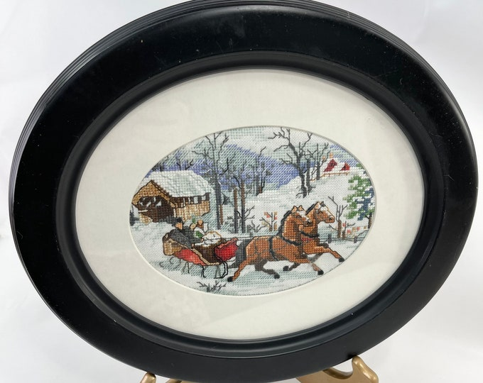 Christmas Picture, Sleigh Ride Winter Scene Picture, Cross Stitch Holiday Wall Hanging