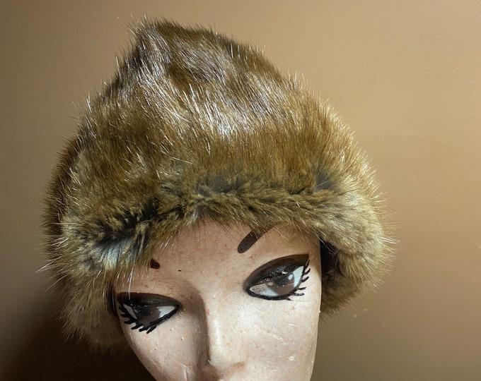 Fur Fashion Hat, Brown Mid Century style winter hat, women's retro style