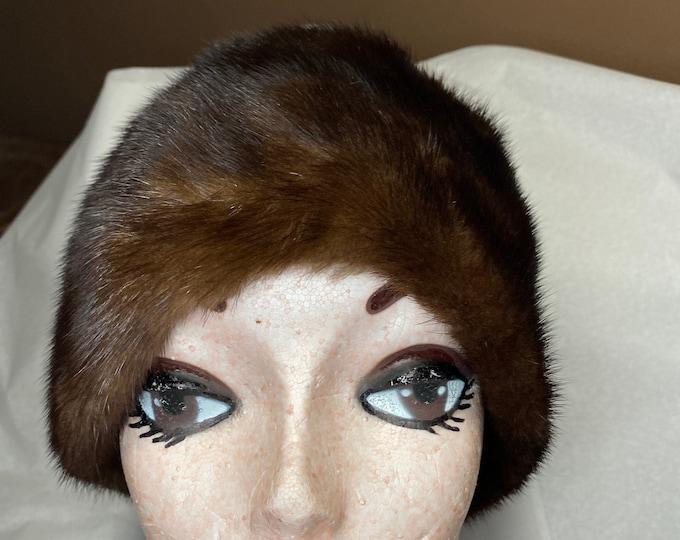 Fur Fashion Hat, Women's vintage winter hat, brown fur beanie style