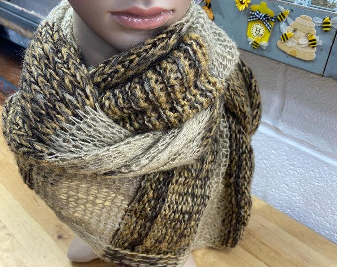 Brown Unisex Boho Scarf, Infinity Wrap Scarf, Winter Neckwear Bohemian