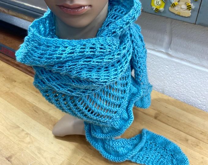 Blue Knitted Wrap Scarf, Vintage Granny Shawl