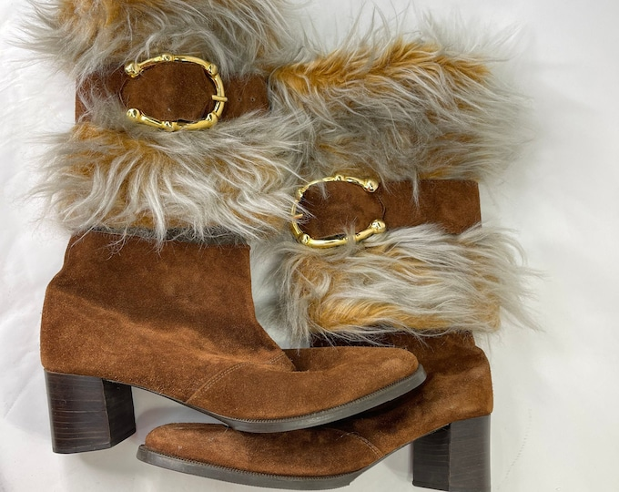 Retro Fashion Women's Boots, Suede and Faux Fur Size 10 Boots, 1970s Hippie Style, Mrs Claus Boots