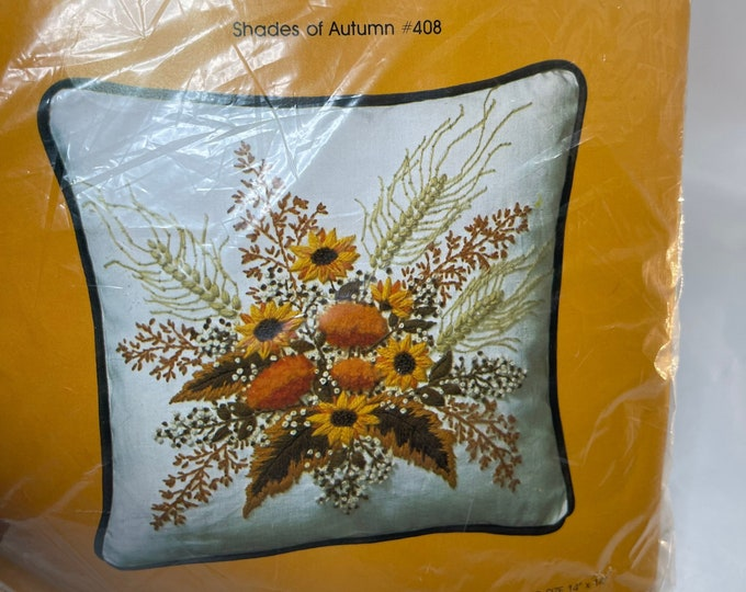 Autumn Flowers Crewel Kit, Fall Flowers Embroidery Instructions, Vintage Pillow Craft