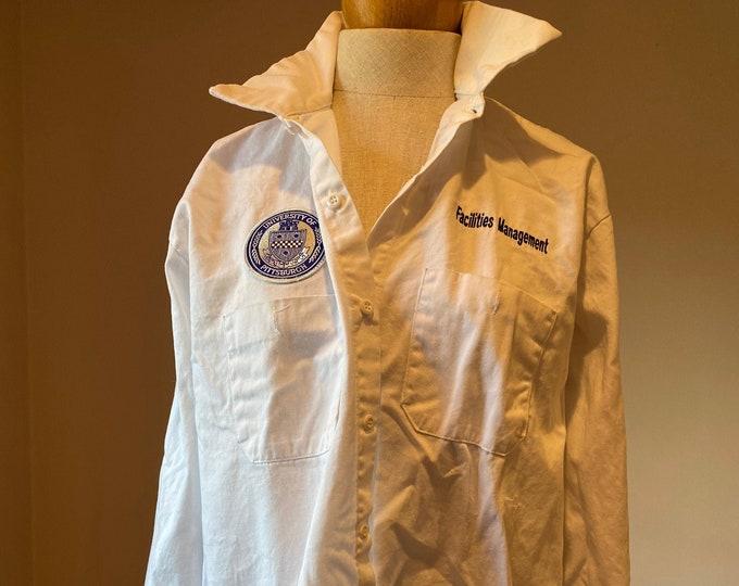 University of Pittsburgh uniform, White denim button up shirt, facilities management