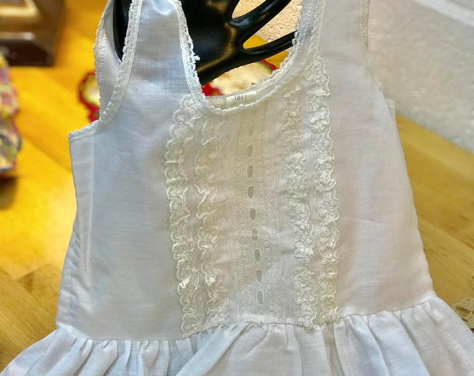 Antique Baby Girl Lace Slip - White Cotton Girl's Nightgown