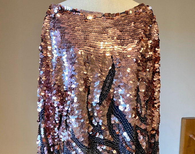 Pink sequins shirt, vintage sparkle party top, formal fashion