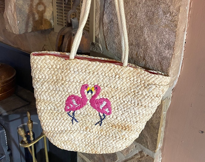 Pink Flamingo Tote Bag, Pair of Flamingos Beach Bag, Summer Wicker Purse