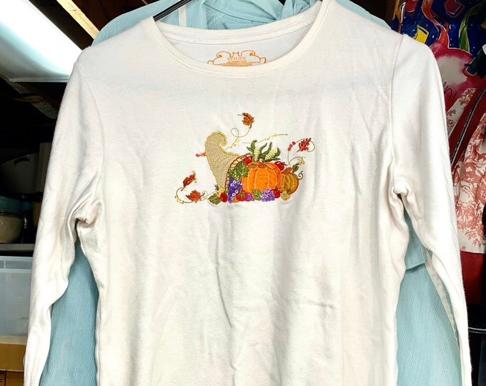 Thanksgiving Women's Shirt, Cornucopia Bounty Holiday Top, Autumn Tee