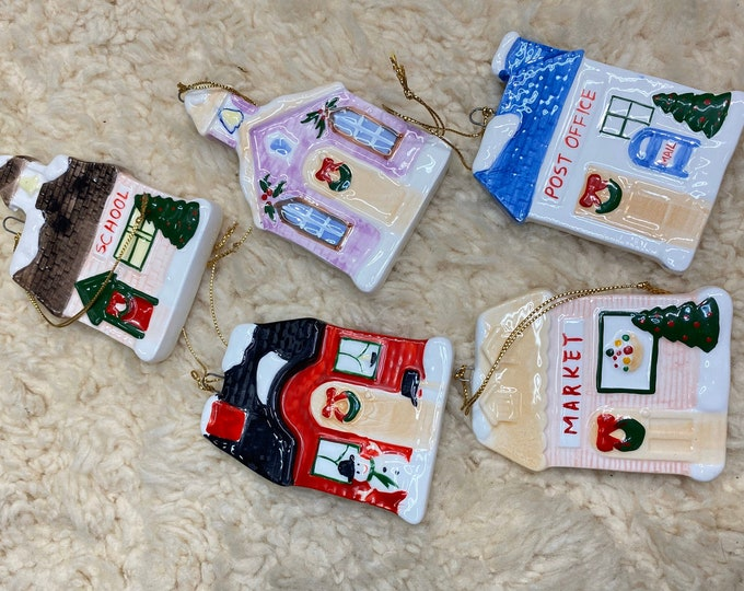 Christmas Winter Houses Ornaments, Vintage Victorian Christmas Tree Decorations, Small Town Buildings Ornaments