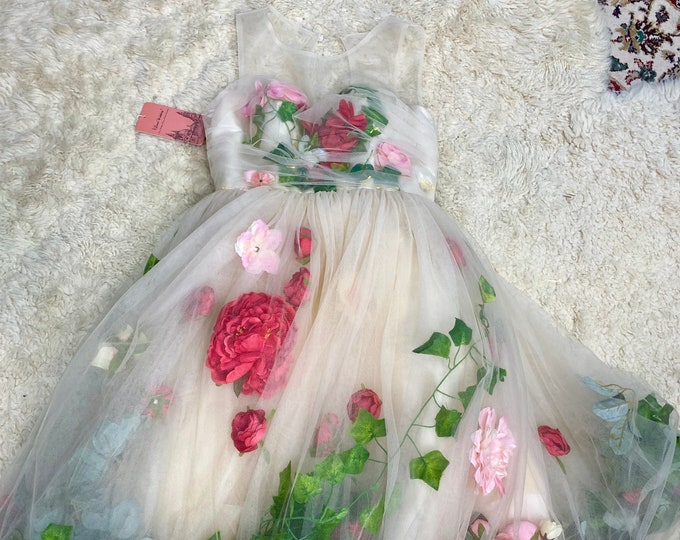 Formal Party Dress, Summer Floral Dress, Flower Costume