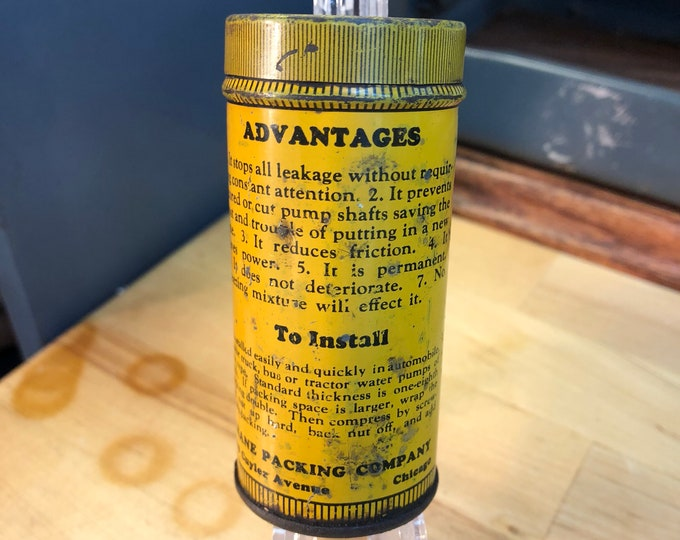 Advertising Tin Can, John Crane Automobile Water Pump Packing
