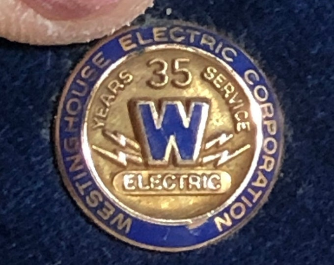 Vintage Westinghouse Electric Corporation pin, 35 Year Service Pin 10k Gold Filled, Company Award Memorabilia