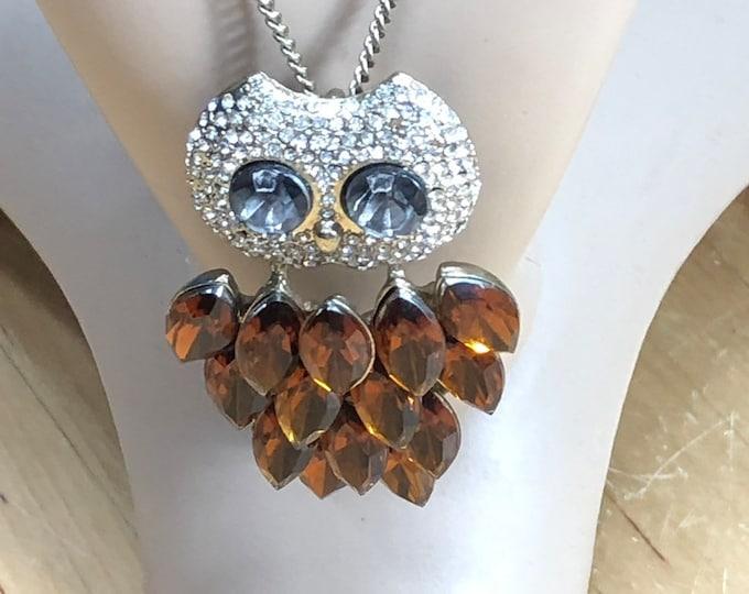 Rhinestone Owl Pendant Necklace, retro costume jewelry