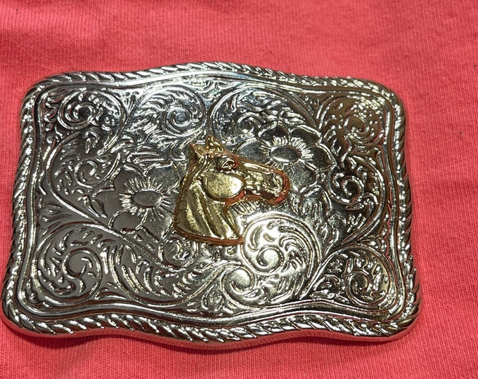 Horse Belt Buckle, Country Western Buckle, Rockmount Ranch Wear Blue Ribbon