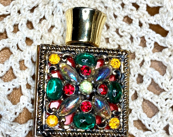Miniature Perfume Bottle Collectible, Colored Rhinestones Vintage Cologne Bottle, Victorian Vanity Display
