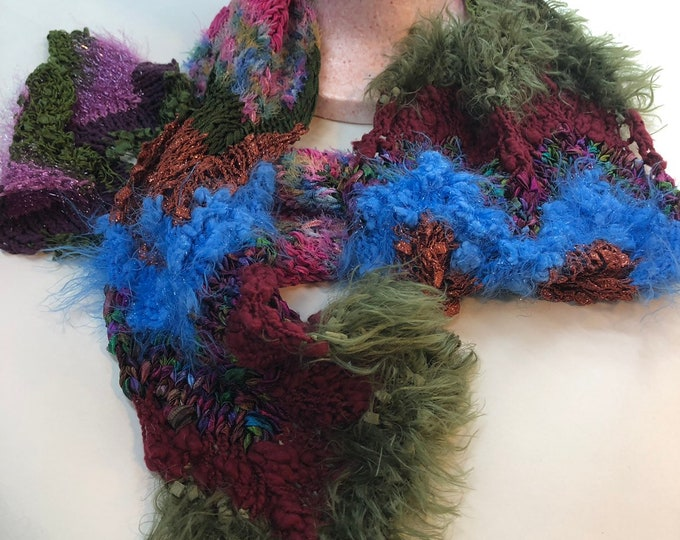 Boho Hand Knitted Scarf, unisex winter scarf, hipster style