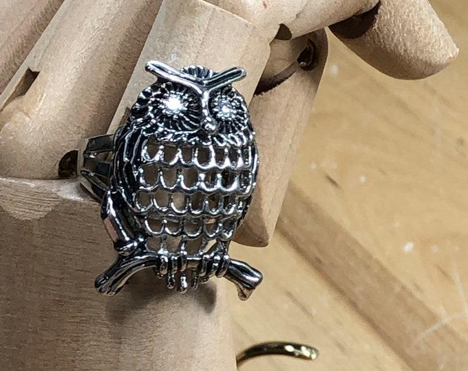 Owl Statement Ring, Large Owl Gothic Ring, Unisex Ring