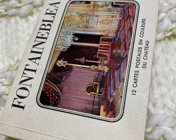 Le Chateau FONTAINBLEAU France 12 POSTCARDS, Vintage French SOUVENIR cards, Ephemera collectibles