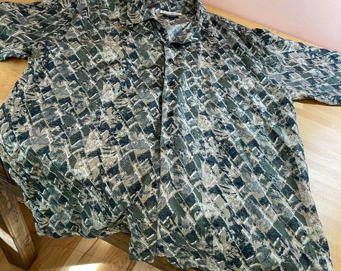 Men's Silk Shirt, Abstract Summer Unisex Top, Men's Size Medium