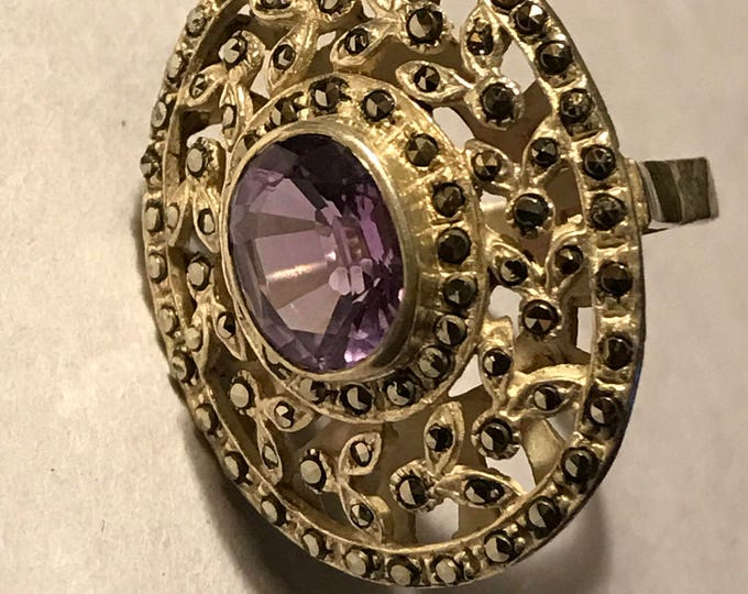 Sterling Silver Ring With Purple Stone, Size 7 1/2 ring, Silver Filigree Statement Ring