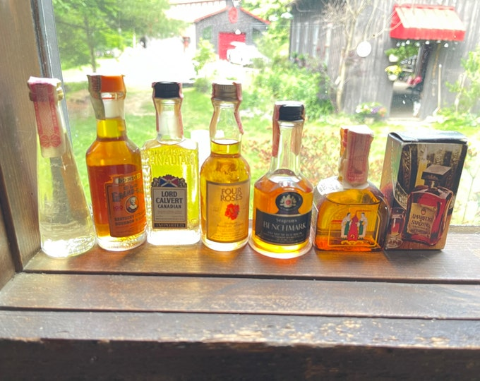 Collectible Miniature Whiskey Bottles, Lot of Decorative Glass, Barware Display Alcohol