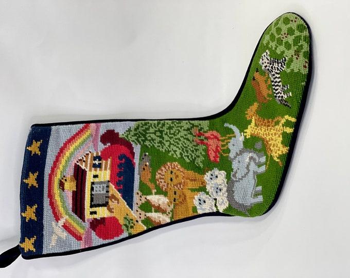 Christmas Stocking, Noah's Ark Holiday Stocking, Embroidered Animals Stocking