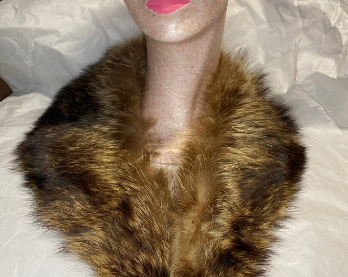 Vintage Fur Collar, mid century fur collar, fluffy brown fur collar