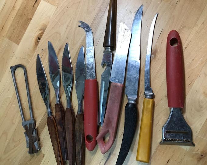Kitchen Knives Lot, Vintage Utensils and Sharpener