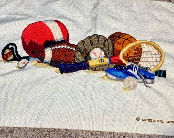 Sport Equipment Crewel Picture, Handmade Crewel Sports Wall Hanging, Game Room Decoration