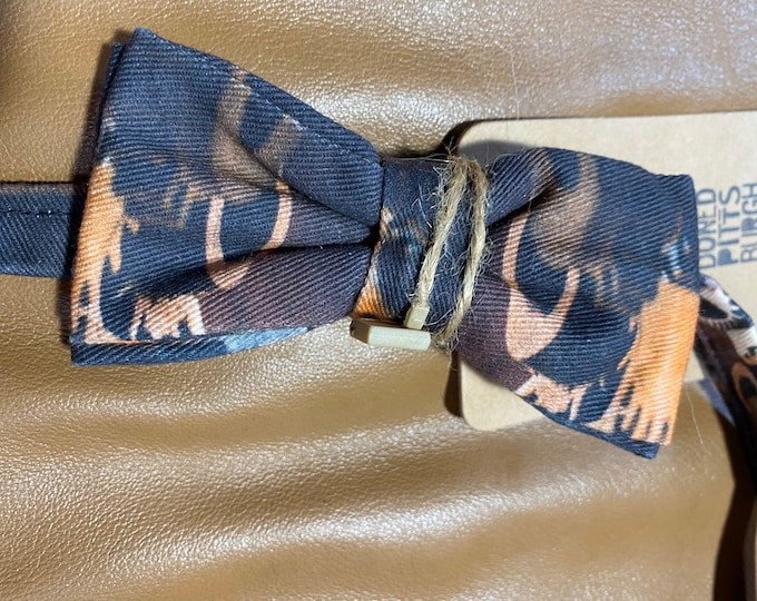 Tie dye camouflage bow tie, hipster boho business casual bowtie