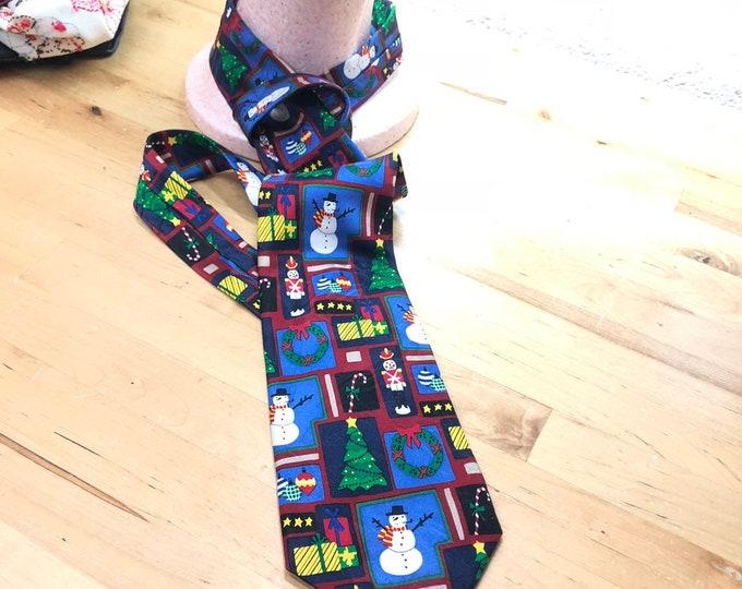Christmas Silk Necktie, holiday party tie, Festive Retro Necktie
