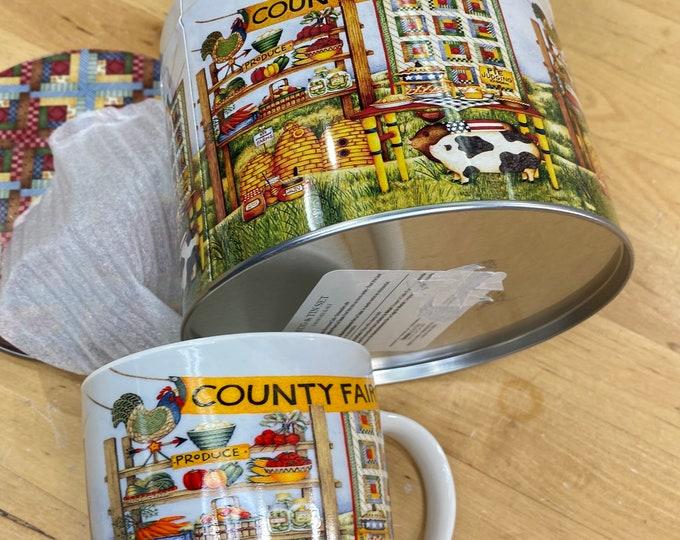 County Fair Cup and Tea Tin Set, Farmhouse Coffee Mug, unisex gift