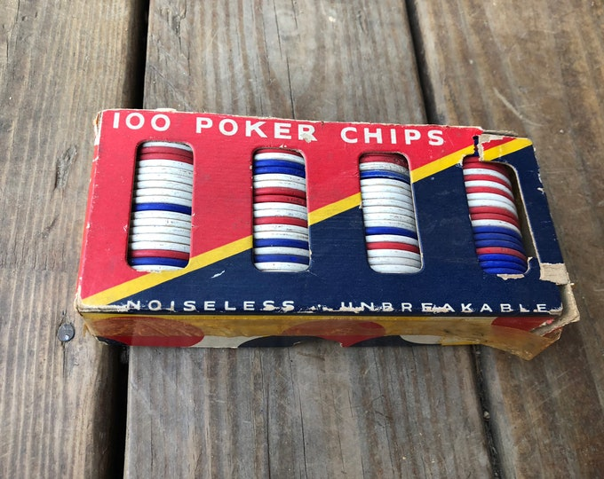 Vintage poker chip set, card game pieces