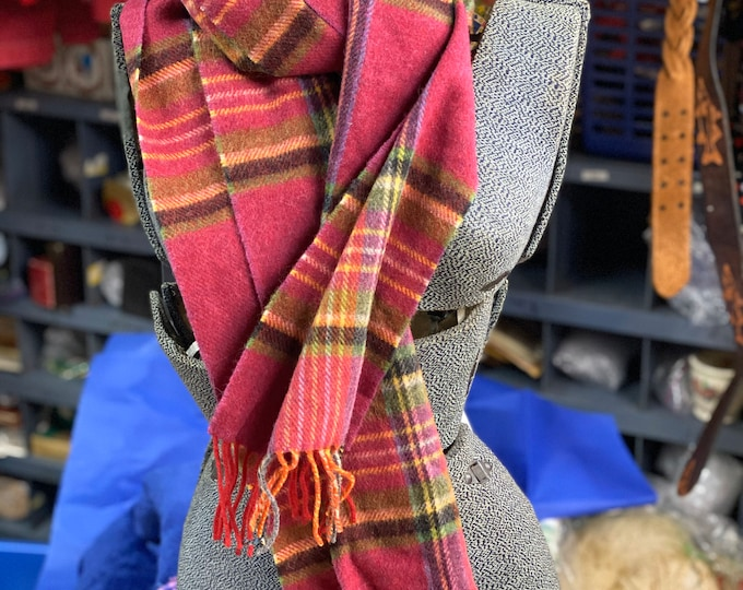 Irish Unisex Winter Scarf, John Hanly Ireland Muffler, Plaid Lambswool Wool Fringe Tartan Scarf