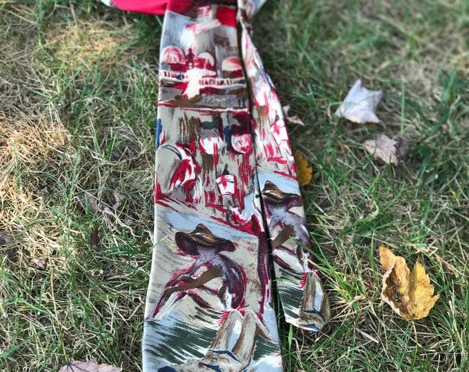 Silk Necktie, Pierre Cardin tie beach scene, gift for him