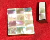 Mother of Pearl Compact Mirror Rouge Case - Matching Brass Lipstick Holder