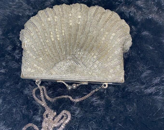 Silver beaded fashion handbag, vintage formal evening purse, sparkle bag