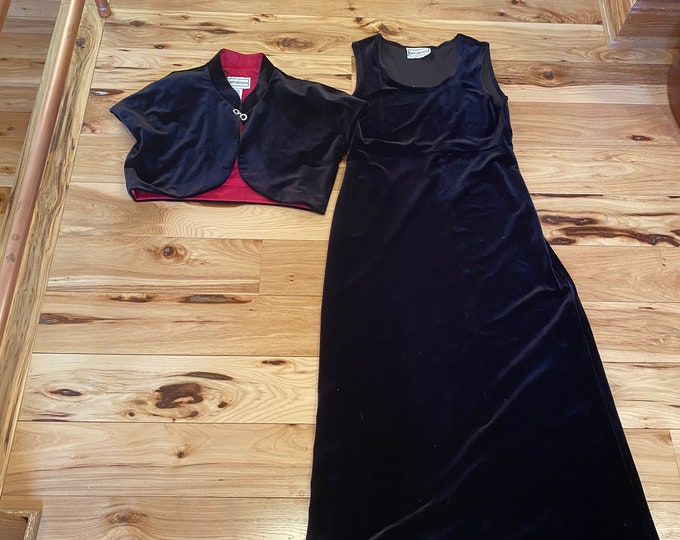 Black funeral velvet dress, formal vintage party dress